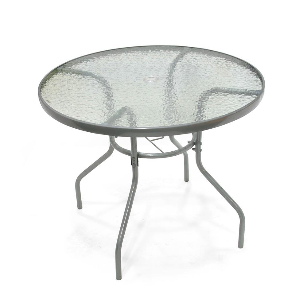 Mesa redonda de vidrio y metal 90 cm promart for Mesas de comedor de vidrio y metal