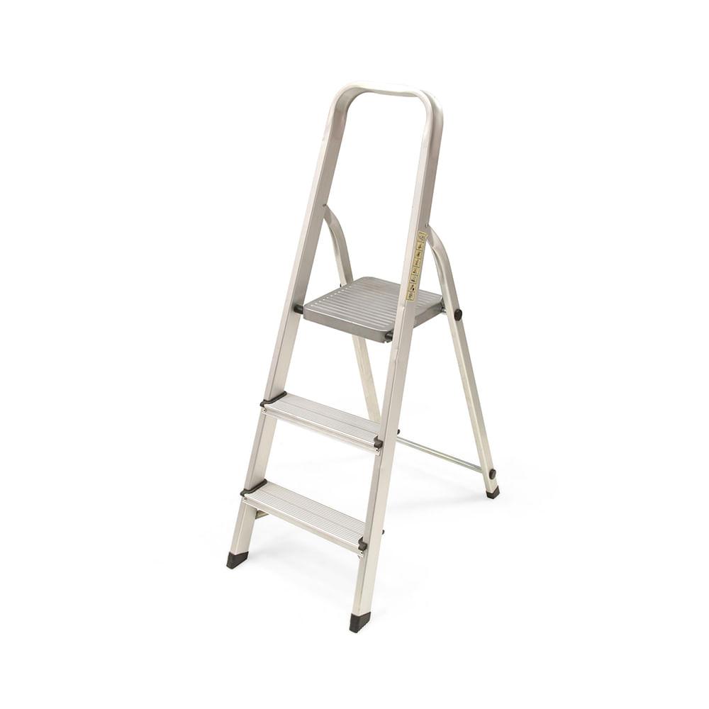 escalera tijera con plataforma de aluminio 3 pasos promart