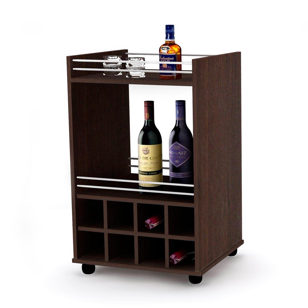 Mueble de bar milano nogal promart for Modelos de muebles para bar