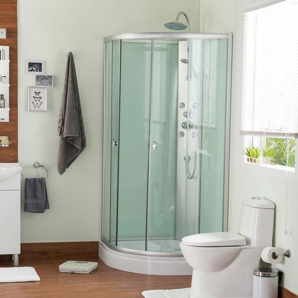 Cabina para ducha ovalada 5mm 4 jets promart for Duchas para banos precios