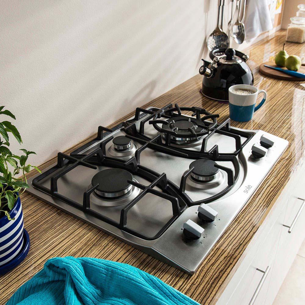 Cocina encimera acero inoxidable SOLCO037 4 hornillas - Promart
