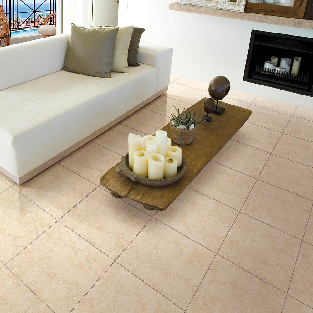 Piso cer mico marmolizado quarzo beige 45x45 cm caja 2 for Pisos de loseta para exteriores