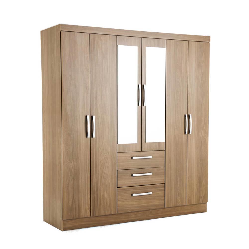 Ropero gales con espejo 6 puertas y 3 cajones marr n promart for Roperos para dormitorios en melamina