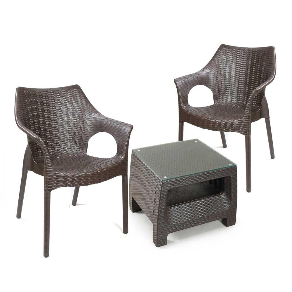 Mesa de centro tavar a 50x50cm 2 silla rat n con brazo for Mesas y sillas de terraza baratas