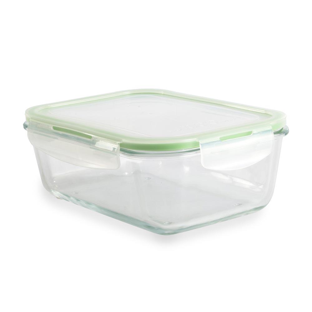 Táper de vidrio rectangular con tapa hermética 1.7 litros - Promart
