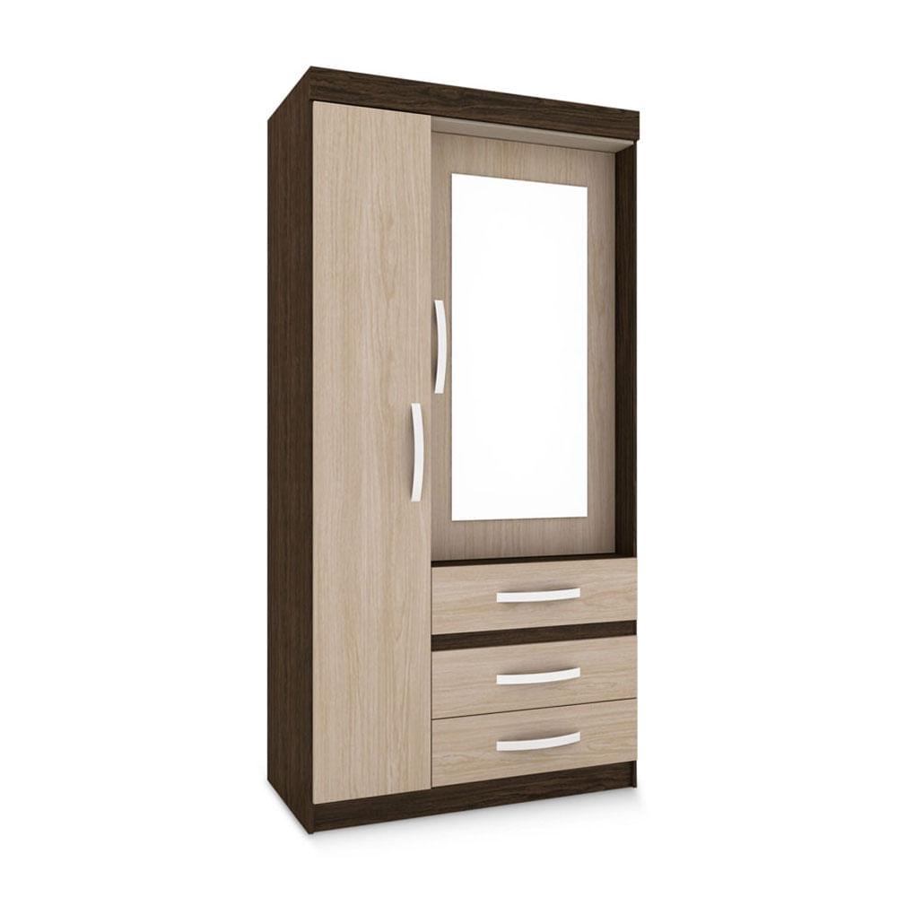 Ropero cartagena 2 puertas y 3 cajones espejo promart for Roperos de melamina para dormitorios