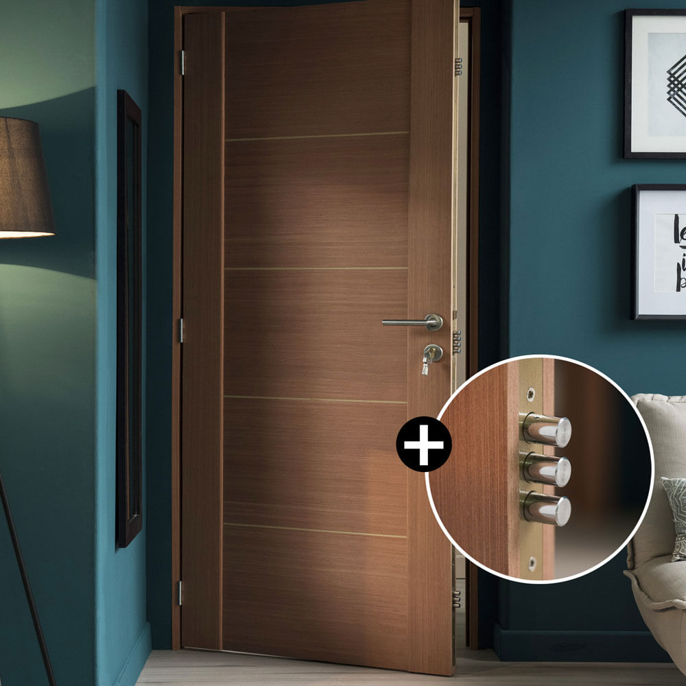 Cerradura 10 pines puerta hera 95x207cm promart for Cerradura para puerta de bano