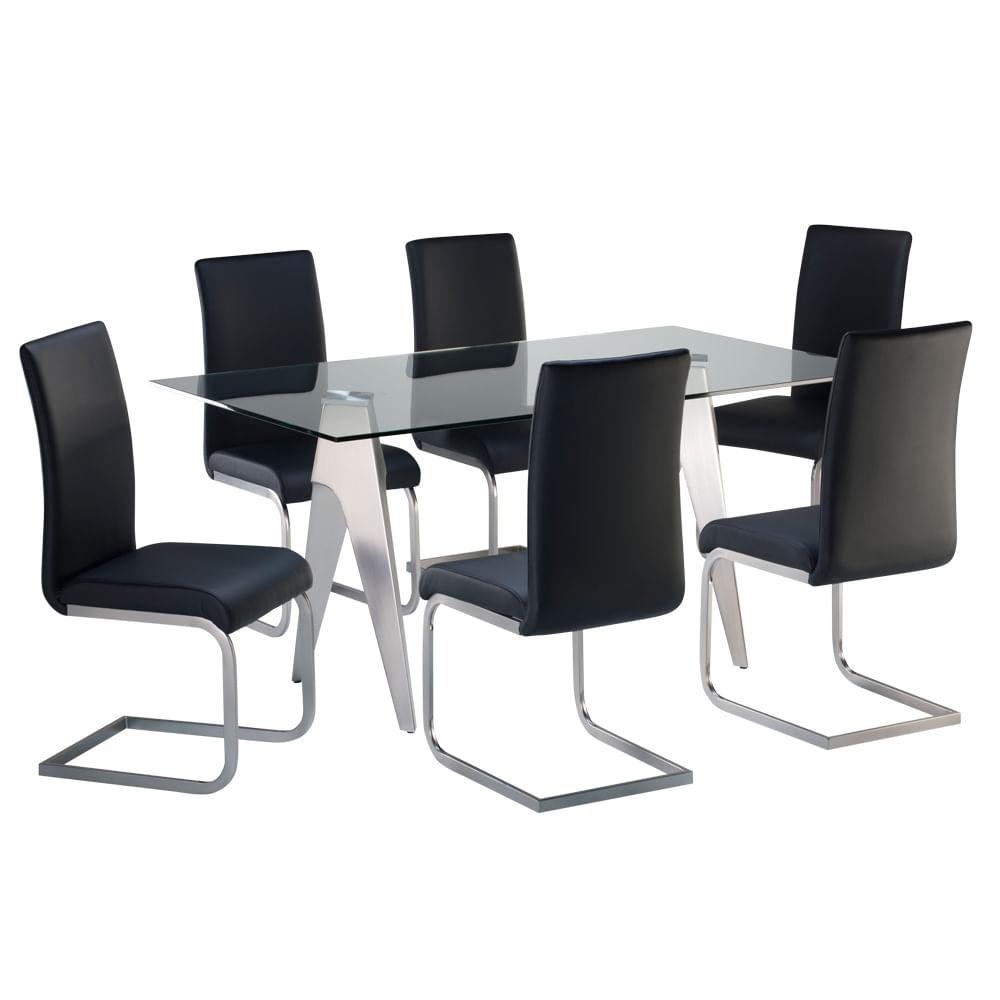 Juego comedor vidrio o 6 sillas promart for Juego de comedor de vidrio precios