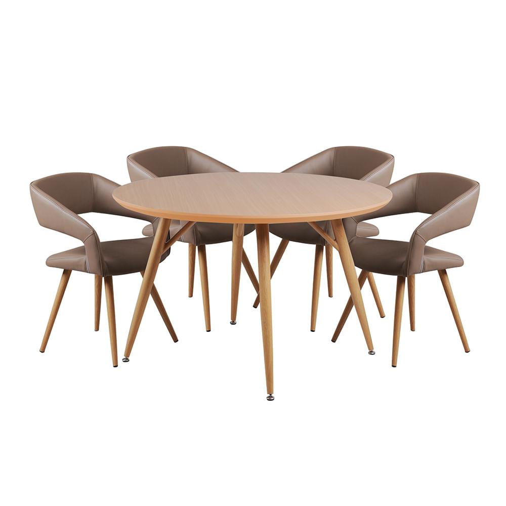 Set de comedor redondo con 4 sillas abano promart for Comedor redondo 4 sillas