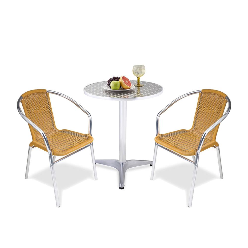 Combo mesa de terraza 2 sillas aluminio rattan promart - Sillas aluminio terraza ...