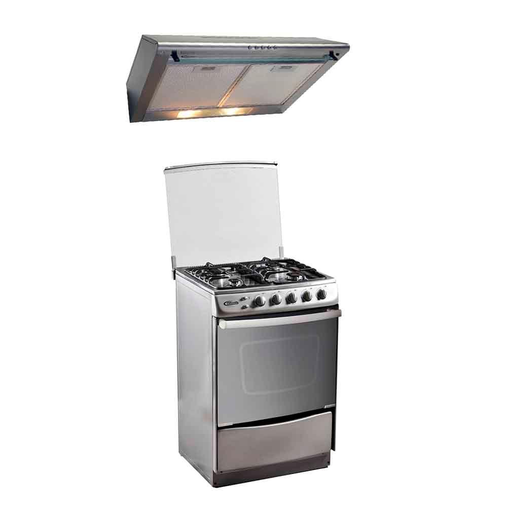Klimatic Combo Cocina de pie Stella 4 hornillas Acero + Campana ...
