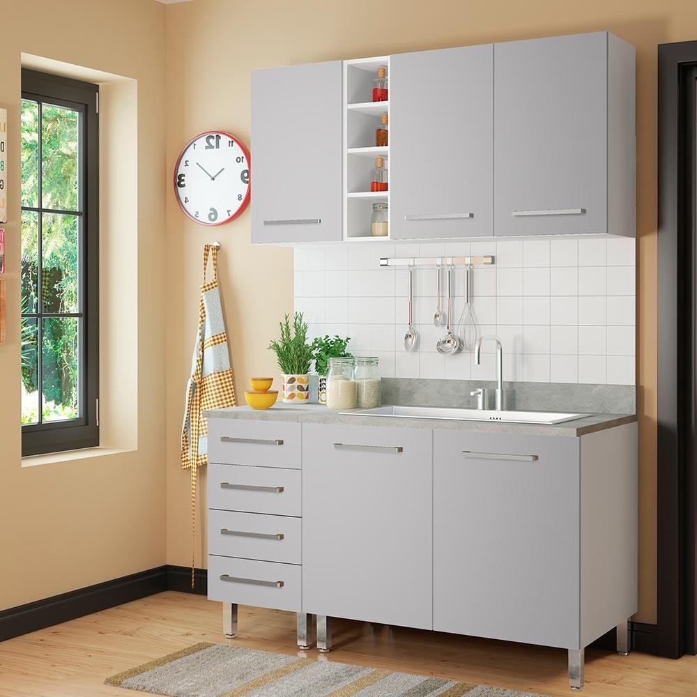 COMBO Muebles de cocina modulares 1.40 metros Gris - Promart