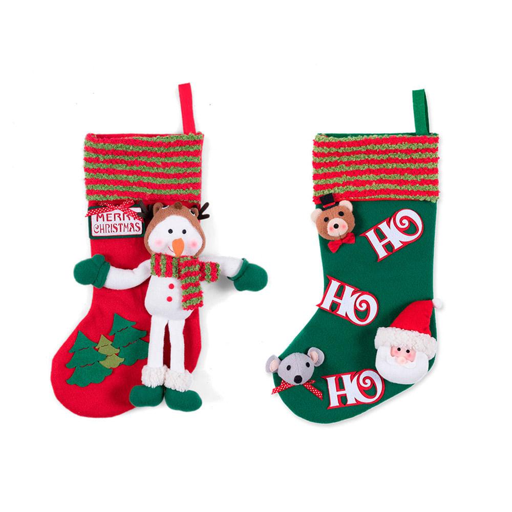 COMBO Bota de navidad Buho + Bota de navidad Papa Noel - Promart