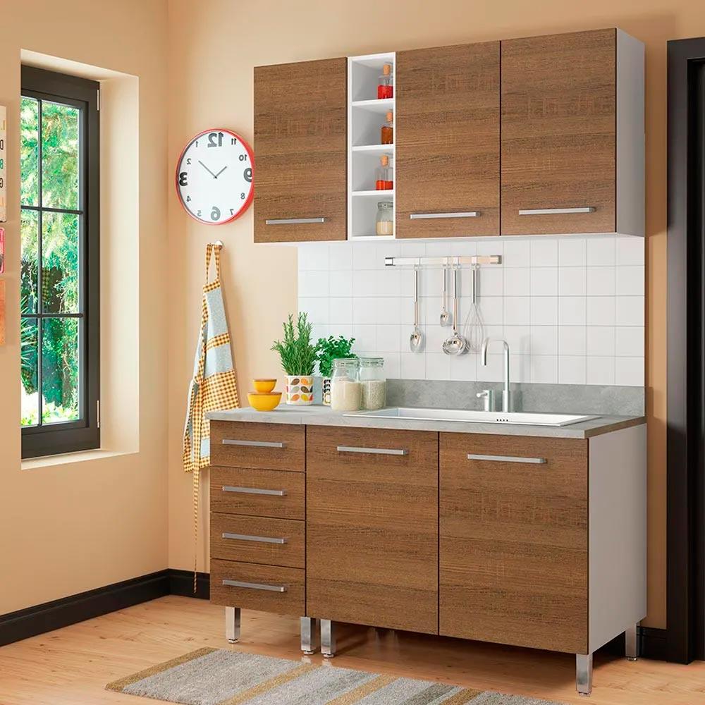 COMBO Muebles de cocina modulares 1.40 metros Nogal - Promart