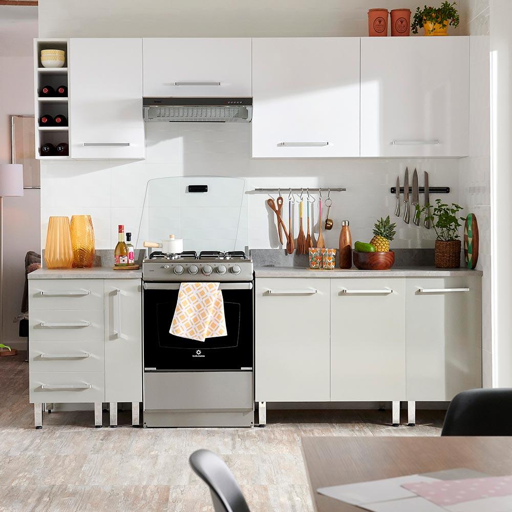 COMBO Mueble de cocina modular 240cm Blanco y Gris