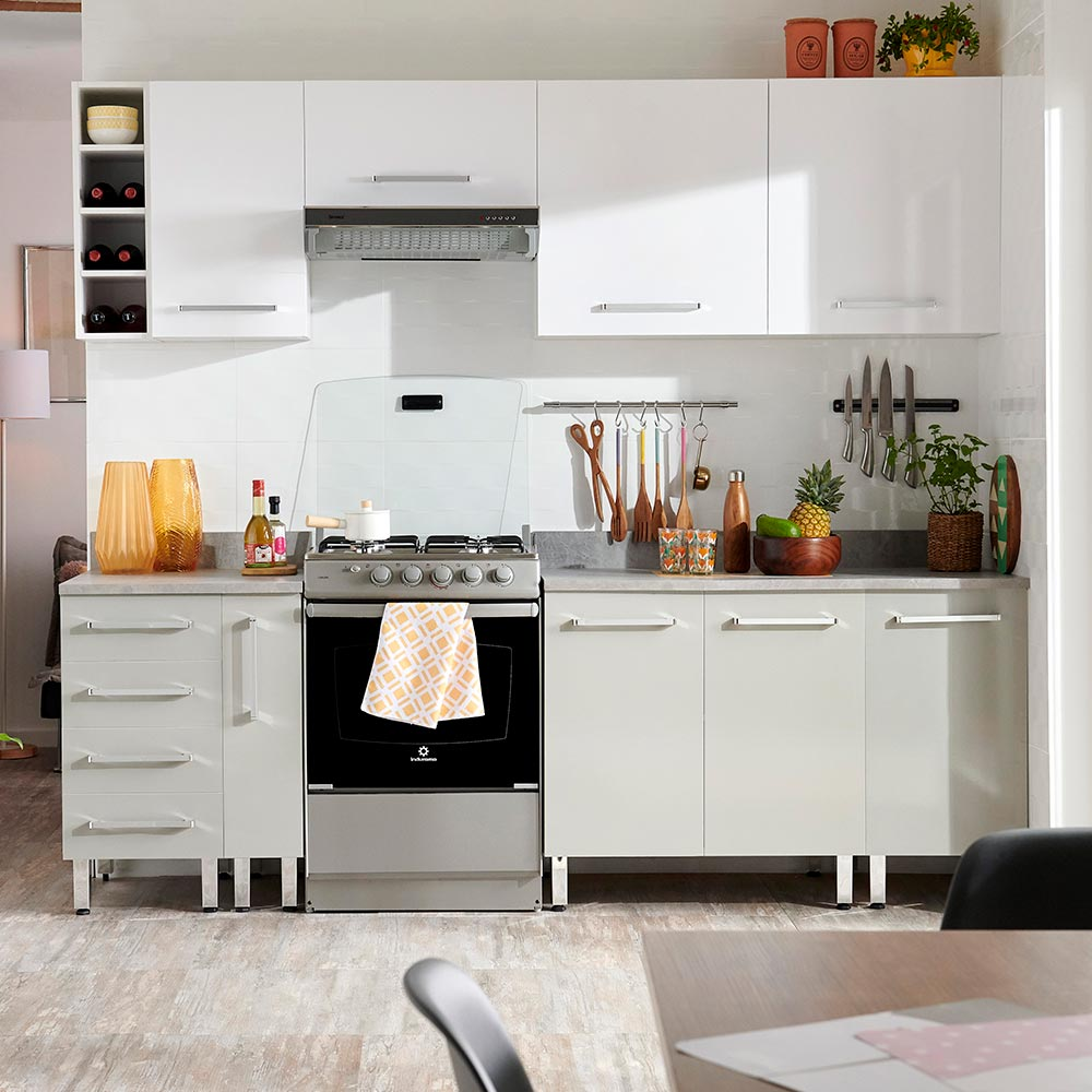 COMBO Mueble de cocina modular 240cm Blanco y Gris - Promart