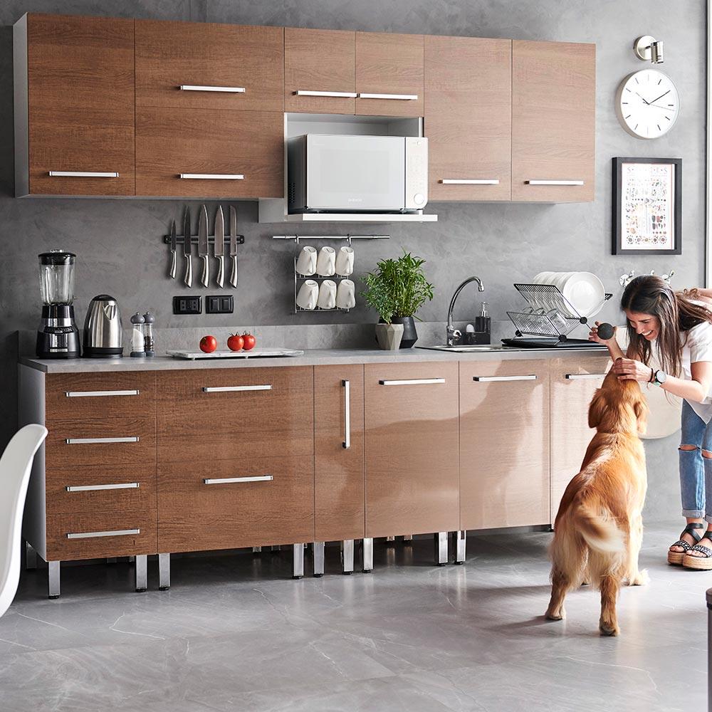 COMBO Mueble de cocina modular 240cm Nogal - Promart