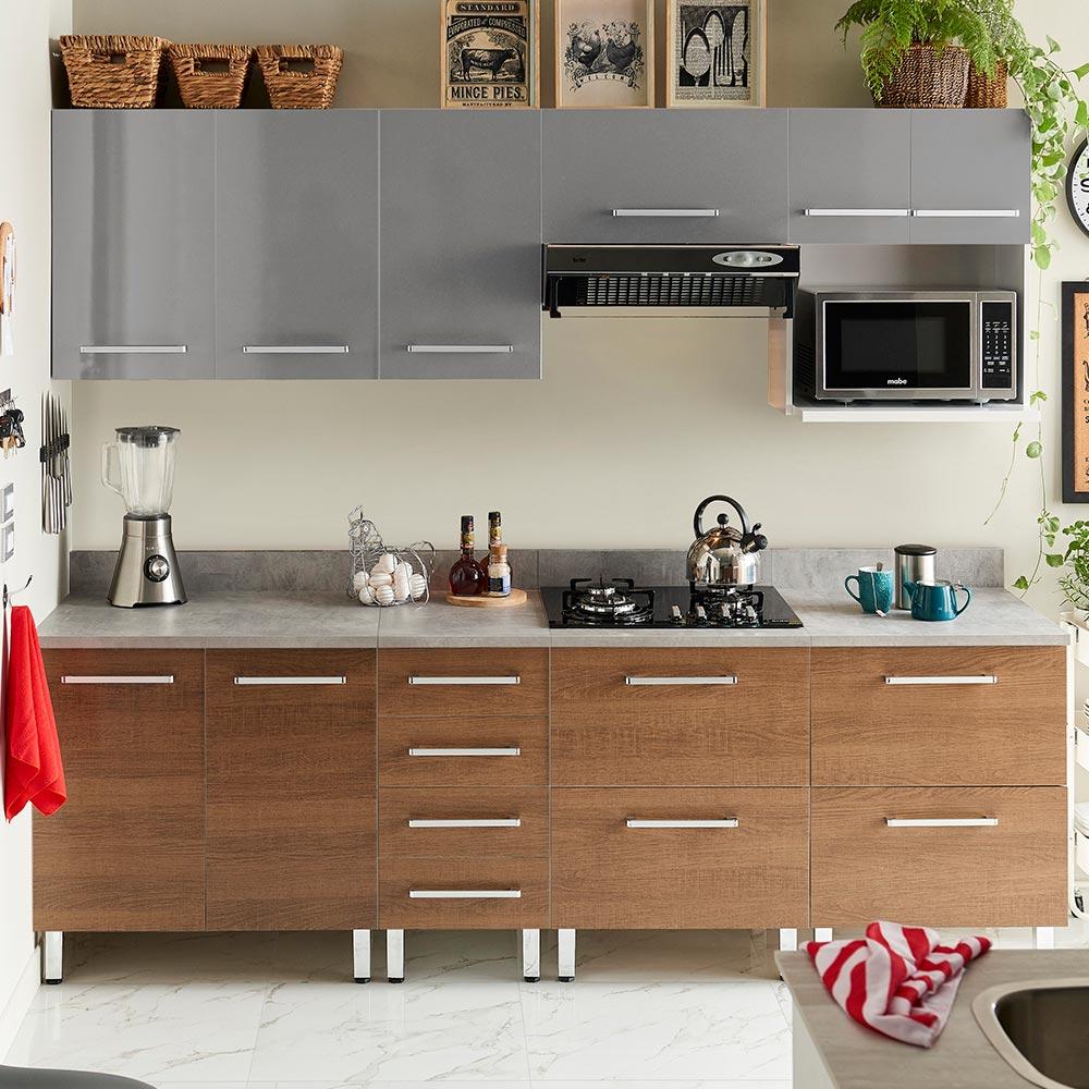 COMBO Mueble de cocina modular 240cm Gris y Nogal