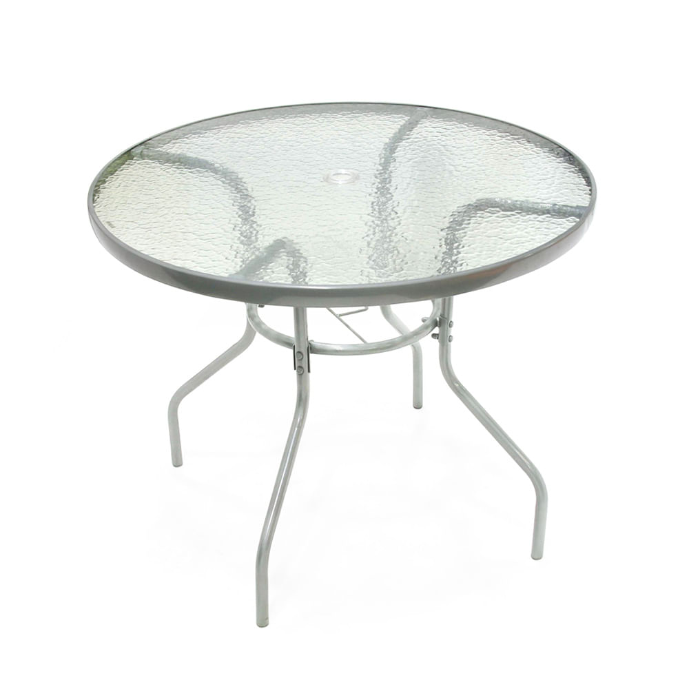 Mesa redonda de vidrio y metal 90 cm - Promart