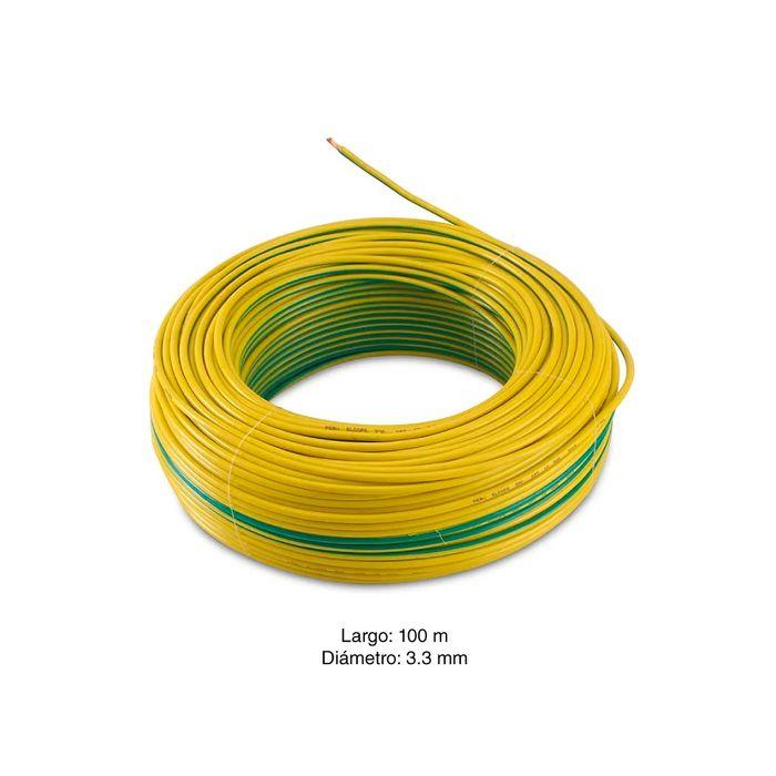 Hilo libre de hal/ógenos de 4mm en caja de 100m Amarillo//Verde