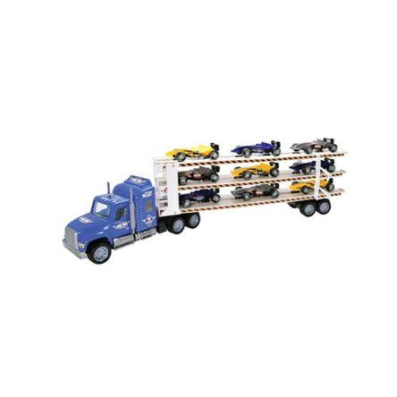 Carro Team Power Transporter 9 Cars Surtido 60 Cm Azul