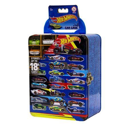 Case Metálico Azul Para Guardar 18 Hotwheels